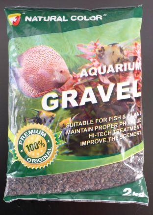 Natural Colour black pebble gravel 2-3mm 2kg bag