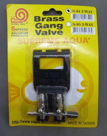 Metal gang valve 2 way on plastic mount